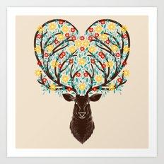 Blooming Deer Spring Art Print