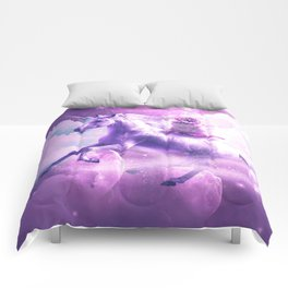 Kitty Cat Riding On Flying Space Galaxy Unicorn Comforters