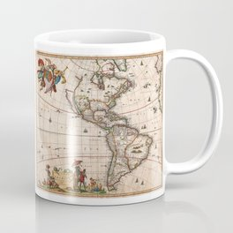1658 Visscher Map of North America and South America (with 2015 enhancements)  Coffee Mug