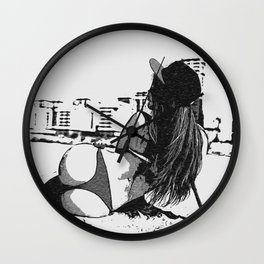 At the beach - sexy girl, black and white, hot rear, booty view, perfect fit and curvy body shapes, Wall Clock