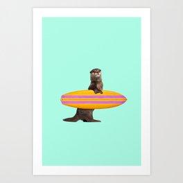 SURFING OTTER Art Print