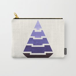 Purple Watercolor Ombre Geometric Aztec Triangle Pyramid Pattern Minimalist Mid Century Design Carry-All Pouch