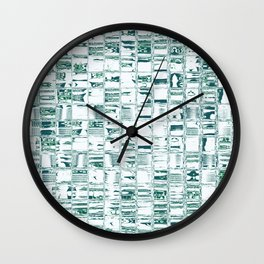 Green glassy look tiles or marble look abstract background design Wall Clock