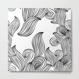 seamless pattern wave background black and white. vector ornament Metal Print