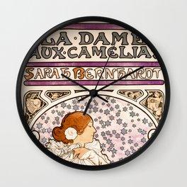 Alphonse Maria Mucha - La dame, aux camelias, Sarah Bernhardt Wall Clock