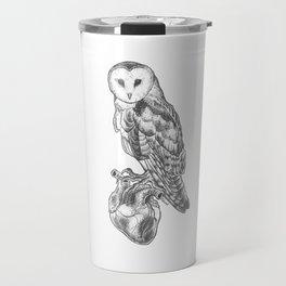Owl and anatomical heart Travel Mug