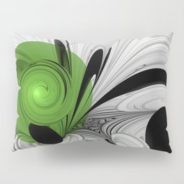 Abstract Black and White with Green Pillow Sham