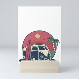 Simple Life Vintage Beach Palm Tree Surf Bus  Mini Art Print