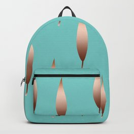 Gold Leaves on Retro Turquoise Backpack