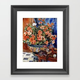 Pierre-Auguste Renoir - Geraniums And Cats Framed Art Print