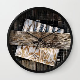 Boarded Up Old House Window Wall Clock