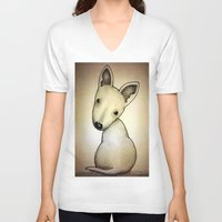 bull terrier V-neck T-shirts featuring Bull Terrier Pup by Caroline Blicq