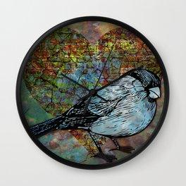 Mixed Media Bird 2 Wall Clock