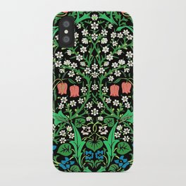 William Morris Jacobean Floral, Black Background iPhone Case