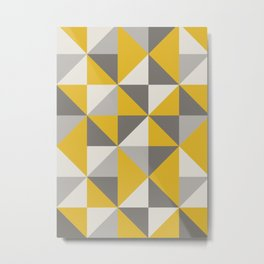 Retro Triangle Pattern in Yellow and Grey Metal Print