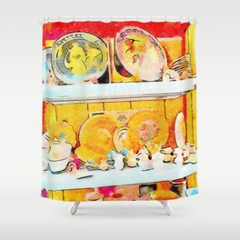 Pottery on the shelf Shower Curtain
