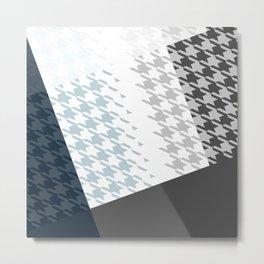 Modern Houndstooth Reinterpreted A – Navy / Gray / White Checked Pattern Metal Print