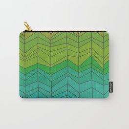 Random Chevron Stripes in Gold Green and Blue Carry-All Pouch