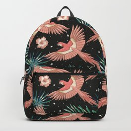 Pink macaw parrots on the starry night sky Backpack