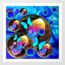 SURREAL NEON BLUE BUTTERFLIES IRIDESCENT SOAP BUBBLES PEACOCK EYES Art Print