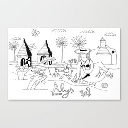 Funny Figurative Line Drawing of Alys Beach Community on 30a Canvas Print
