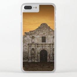 The Alamo Mission in San Antonio Texas with the Lonestar Flag Flying No.0256 A Fine Art Historical P Clear iPhone Case
