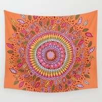 pumpkin Wall Tapestries featuring Pumpkin Bloom by Janet Broxon