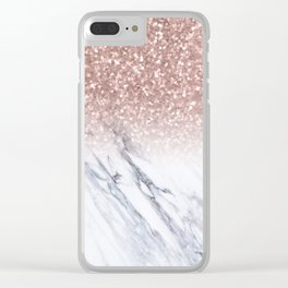 She Sparkles Rose Gold Marble Luxe Clear iPhone Case