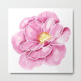 Beautiful pink peony, watercolor drawing Metal Print