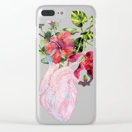 Human heart with flowers, plant and leaf, watercolor Clear iPhone Case
