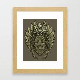 Winged Skull Scarab Framed Art Print