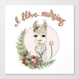 I Llove Nursing Llama Canvas Print
