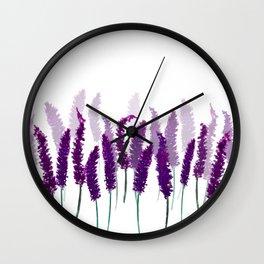 Lavender Field   Purple Flowers in Watercolor Wall Clock