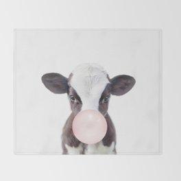 Bubble Gum Baby Cow Throw Blanket