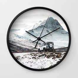 on the road in iceland Wall Clock