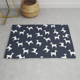 ALPACA PATTERN INDIGO - ALL ABOUT LLAMAS Rug