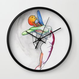 Summer sun, female nude dancer, NYC artist Wall Clock