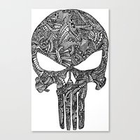 punisher Canvas Prints featuring Punisher  by christoph_loves_drawing
