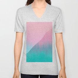 Abstract teal pink aqua geometrical brushstrokes Unisex V-Neck