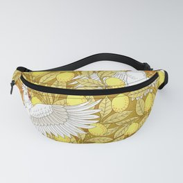 Vintage Pattern, Lemons and Birds, 1897 Fanny Pack