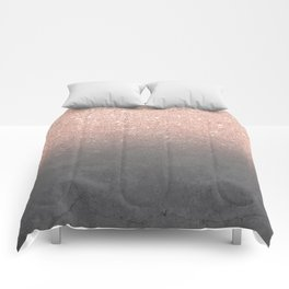 Rose gold glitter ombre grey cement concrete Comforters