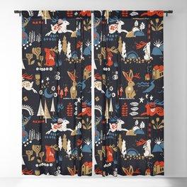 Happy nordic Wolpertinger dark Blackout Curtain