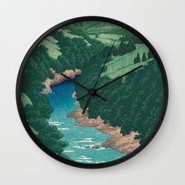 River Yana by Kawase Hasui - Japanese Vintage Woodblock Ukiyo-e Print Wall Clock