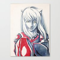 inuyasha Canvas Prints featuring Hanyou- InuYasha Fanart by Audrey Bocchini
