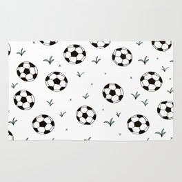 Fun grass and soccer ball sports illustration pattern Rug