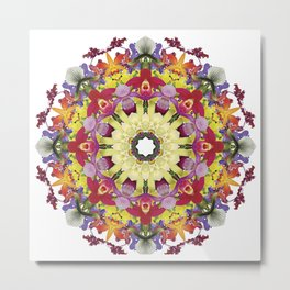 Abundantly colorful orchid mandala 1 Metal Print