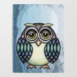 Owl illustration drawing Poster