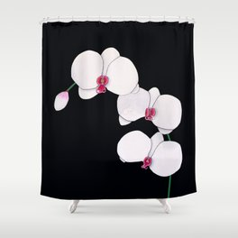 Trois Orchids and a Bud Shower Curtain