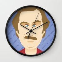 will ferrell Wall Clocks featuring Will Ferrell as Ron Burgundy by Leo Maia