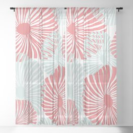 Abstract Tropical Hibiscus Flower in Muted Red and Turquoise Stripes Beach Pattern Sheer Curtain